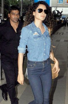 Kangana Ranaut at Mumbai airport, also the only woman I know who can do double denim and make it look fab.