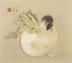 Mouse on a turnip by Takeuchi Seiho (1864-1942)