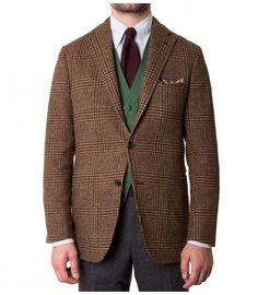 Single-Breasted Camel Glen Check Wool Jacket