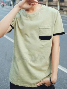 Doresuweメンズラウンドネック半袖コントラストファッションTシャツ Casual T Shirts, Boys T Shirts, Cool Shirts, Men Casual, Outfit Hombre Casual, New T Shirt Design, African Clothing For Men, Printed Polo Shirts, Latest T Shirt