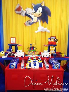 Red, blue and yellow treats at a Sonic birthday party! See more party planning… Sonic Birthday Parties, Sonic Party, 7th Birthday, Birthday Ideas, Cumpleaños Angry Birds, Hedgehog Birthday, Video Game Party, Party Background, Mario Party