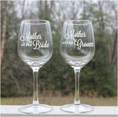 Etched Wine Glasses Mother of the Bride  Set of by StoneEffectsMD, $26.50