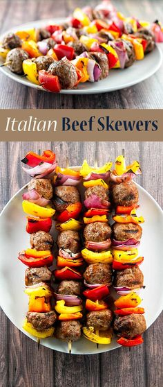 Italian beef skewers with grilled vegetables and tender juicy meatballs | girlgonegourmet.com