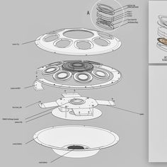 Lumen electro-acoustic handpan (REV7) exploded view for founder Guy Munton Jackson  _________________________________  #industrialdesign #idsketching #Solidworks #technicaldrawing #electronic #sketch #drawing #conceptdevelopment #productdesign #sketchpage #layout #copicmarkers #design #explodedview #assembly #product #music #instrument #handpan