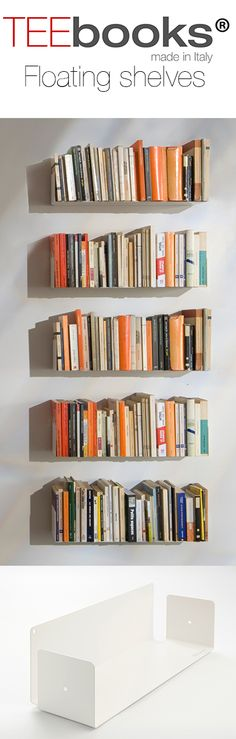 If you love books but you don't like bookcases, your problem just got solved ! when it's completely covered with books, the shelves become almost invisible to the eye. TEEbooks by Mauro Canfori
