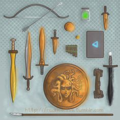 (from left to right): Hunters of Artemis Bow & Arrow, Hazel's Spatha, Luke's Backbiter, Percy's Anaklusmos, Annabeth's Knife, Leo's Archimedes Sphere, Jason's Ivlivs, Jar of Greek Fire, Piper's Katoptris, Grover's Reed Pipes, Annabeth's Daedalus Laptop, Thalia's Aegis, Leo's Magical Tool Belt, Nico's Stygian Iron Sword, and Frank's Dragon Tooth Spear. | art by freckledlass