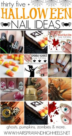 Halloween Nail Tutorials - Hairspray and Highheels