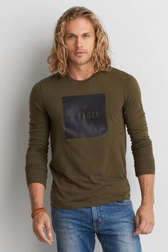 American Eagle Outfitters AEO Graphic Long Sleeve Crew T-Shirt