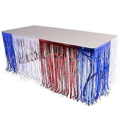 "144"" X 30"" Patriotic 4th of July Metallic Foil Fringe Table Skirt"