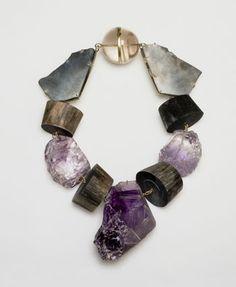 Philip Sajet crystal, quartz, buffalo horn and amethyst Stone Jewelry, Jewelry Art, Jewelry Accessories, Jewelry Necklaces, Fashion Jewelry, Bracelets, Gold Jewelry, Bijoux Design, Schmuck Design