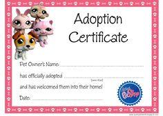 Quirky Artist Loft: Littlest Pet Shop Party - Free Adoption Certificate