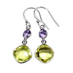 925 Sterling Silver Earrings - Handmade Lemon Quartz and Amethyst Earrings $58.00   #handmade #gemstones #gems #earrings #globalgood #knowwhomadeit #bethechange #giftideas #fashionista #SitaraArtisans