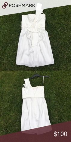 BCBG Silk White One Shoulder Dress Perfect condition! BCBG Dresses Mini