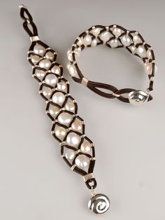 Shanti Leather Pearl Cuff - tightly woven with one continuous piece of silver wire