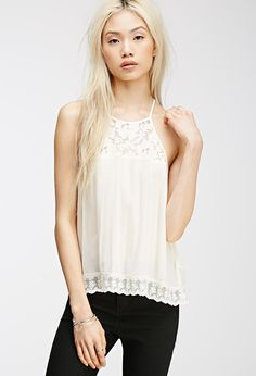 Lace-Paneled Halter Top | 12.90
