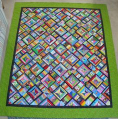 """FABRIC THERAPY: TUTORIAL: """"X"""" MARKS THE BLOCK (free pieced strippy quilt)  Also check out http://quiltdivajulie.blogspot.com/2014/09/scrappy-saturday-orange-part-3.html"""