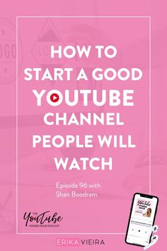 How to start a good YouTube channel people will watch. Learn insider tips for YouTube on the newest podcast episode. Best video tips for people who love creating content. Episode 96 of The YouTube Power Hour Podcast with Shan Boodram. Host: Erika Vieira. #StartaYouTubeChannel #YouTuber #YouTubeChannel #ErikaVieira Social Media Marketing Courses, Content Marketing Strategy, Social Media Tips, Youtube Channel Art, Video Channel, Youtube Without Ads, Vlog Tips, Blog Names, Like Facebook
