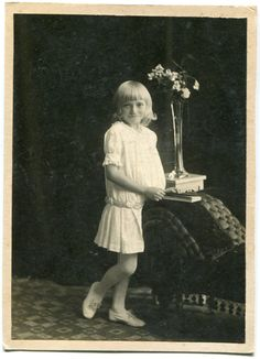 Old studio portrait 1918 little girl in white by PhotoMemoriesLane
