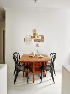rustic dining table and thonett chairs