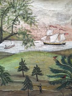 Kolene Spicher painting in the style of the Rufus Porter School. Primitive Painting, Primitive Folk Art, Primitive Kitchen, Country Primitive, Faux Painting, Mural Painting, Art Through The Ages, Ship Paintings, Mural Wall Art