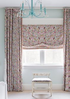 Curtain, Interior design, Room, Furniture, Purple, Wallpaper, Table, Window treatment, Textile, Floor, Roman Curtains, Valance Curtains, Laundry Room Colors, Erin Gates, Purple Bedrooms, French Architecture, Little Girl Rooms, Traditional House, Window Treatments