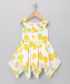 Take a look at this Green Daisy Yoke Handkerchief Dress - Toddler & Girls by Lele for Kids on #zulily today!