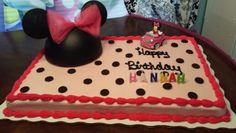 Minnie mouse cake- got a sheet cake and added mini oreos as polka dots and a Styrofoam minnie mouse head to decorate