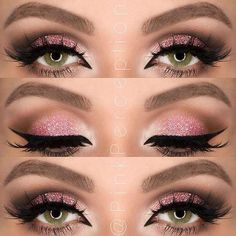 Pink Glitter Eye Makeup Look for Green Eyes