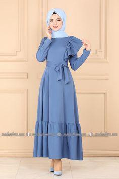 Fırfırlı Kemerli Elbise 2028TT384 İndigo - Moda Selvim