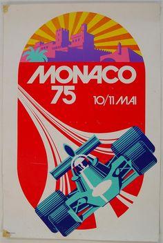 Poster 1975 Monaco Grand-Prix original Inscribed on lower left margin a.p monaco. Porsche, Monte Carlo, Course Automobile, Monaco Grand Prix, Retro Poster, Racing Events, Car Posters, Event Posters, Indy Cars