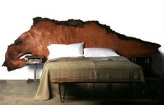 CAMA FURNITURE RUSTIC WOOD TRUNKS Live edge slab headboard. Now, how to secure it to the wall?