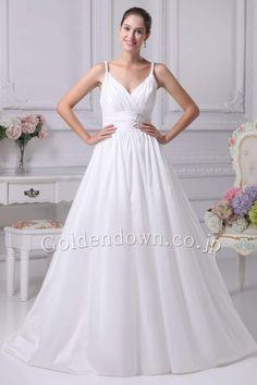 ウエディングドレス Aライン フロア キャミソール サテン ホワイト(White) WD1001010035