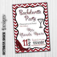 Bachelorette Party Invitation Red Chevron by OctoberSkiesDesigns