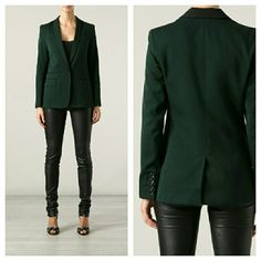 $948 A.L.C. Forest Green Blazer w/Black Trim Like new. From the 2013 collection. Purchased for myself but it's too small. I had hoped it ran large like the original seller claimed but it doesn't. Could only fit a US 0 or 2 at the most. One button front closure. Padded structured shoulders. Blazer is a wool/cotton blend and the lining is 100% silk. Faux front pockets. Non-stretch. If you do not normally wear a 0/2 or XS in blazers THIS WILL NOT FIT YOU. Could use a dry clean. My cat decided…