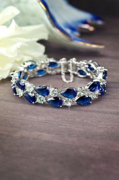 sapphire blue cubic zirconia bracelet, bridal bracelet, wedding cz bracelet, navy blue crystal bracelet, something blue bridal, cz jewelry