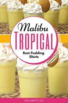 Pudding Shots Alcohol, Rum Shots, Pudding Shot Recipes, Alcohol Drink Recipes, Jello Shots, Coconut Pudding, Banana Coconut, Coconut Rum, Banana Pudding