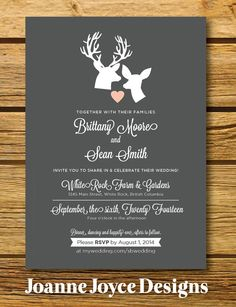FREE SHIPPING Deer Wedding Invitation Rustic by JoanneJoyceDesign