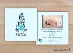 Faire-part de naissance, garçon, bébé - Fichier Imprimable - n°48 chouette, hibou, oiseau, famille, animaux : Faire-part par cashemir