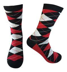 Men's Colorful Argyle Crew Socks w/ Black, Red and Grey Argyle Socks, Men's Socks, Groomsmen Socks, Red And Grey, Black, Dress Socks, Cotton Socks, Pairs, Secret Recipe