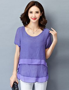 2016 Women's Summer New Short-Sleeved Loose Plus Size Chiffon Shirt                                5X16. Fabric:Polyester, Cotton lav