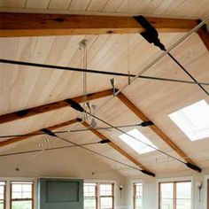 Reclaimed oak resawn beams for a private residence ceiling on Martha s Vineyard, Massachusetts. Timber Ceiling, Timber Roof, Ceiling Beams, Steel Trusses, Roof Trusses, Bbq Shed, Truss Structure, Roof Truss Design, Wood Truss