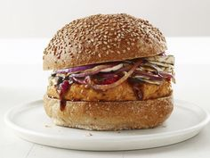Asian Chicken Burgers Recipe : Food Network Kitchens (Roll in sesame seeds and breadcrumbs for a crunchy nugget texture)