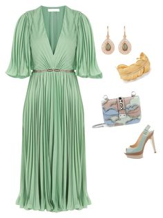 Pleated Dress by lecoiffeur on Polyvore featuring polyvore, fashion, style, Halston Heritage, Christian Louboutin, Valentino, Anne Sisteron, Irene Neuwirth, clothing and lecoiffeur