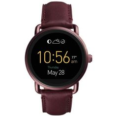 Women's Fossil Q Wander Leather Strap Digital Smart Watch, 45Mm ($255) ❤ liked on Polyvore featuring jewelry, watches, fossil watches, digital wrist watch, fossil jewellery, leather strap watches and fossil jewelry