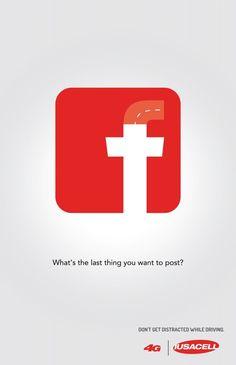 「最期の投稿は何ですか?」 安全運転を呼びかける啓蒙広告  |  AdGang