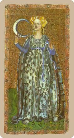 The meaning of The Moon from the Cary-Yale Visconti Tarocchi Tarot deck: This is an opportunity to draw messages from your inner self. Tarot Decks, The Moon Tarot, Tarot Major Arcana, Tarot Readers, Strange History, Medieval Art, Renaissance Art, Oracle Cards, Illuminated Manuscript