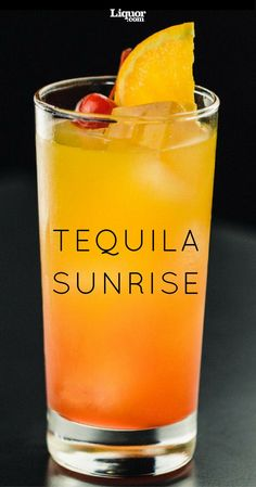 The Tequila Sunrise, with it's bright striations of color, evokes a summer sunrise. This simple classic has only three ingredients—tequila, grenadine and orange juice—and is served unmixed to preserve the color of each layer. St Patrick's Day Cocktails, Cocktail Drinks, Alcoholic Drinks, Beverages, Tequila Sunrise Drink, Sunrise Cocktail, Patron Drinks, Patron Tequila, Best Masticating Juicer
