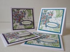 Carte de voeux, carte d'anniversaire, carte de fête «Bon anniversaire fleurs et fougères» Mauve ou turquoise Stampin'Up! de la boutique Lamainalacarte sur Etsy