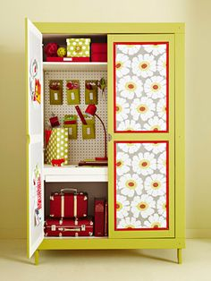 If you can't have a craft room perhaps you can have a craft closet. Cute idea and great idea for those old entertainment centers that no longer work because of the flat screen revolution