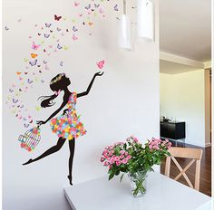 Butterfly Girl Diy Wallpaper For Kids Rooms Sofa Bedroom House Decoration Art Decals Design 3d Home Decor Vinyl Wall Stickers